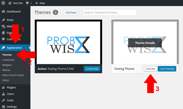 How to install and activate a wordpress theme probewise for Wordpress template folder